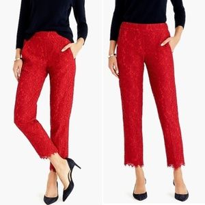 J Crew Easy Pants In Lace Festive Red Sz 00
